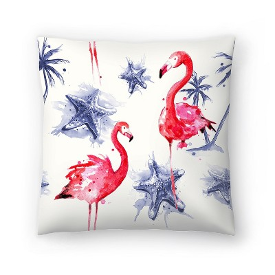 Americanflat Beach Flamingos Repeat Tile by Sam Nagel Throw Pillow