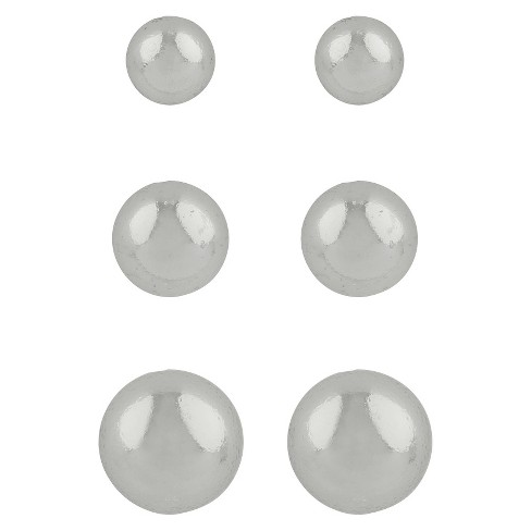 Sterling Silver Button Trio Ball Earring - Silver - image 1 of 1