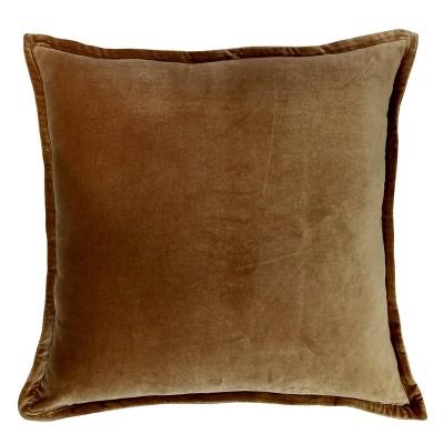 Oversized Velvet Reversed to Herringbone Square Throw Pillow Brown - Threshold™