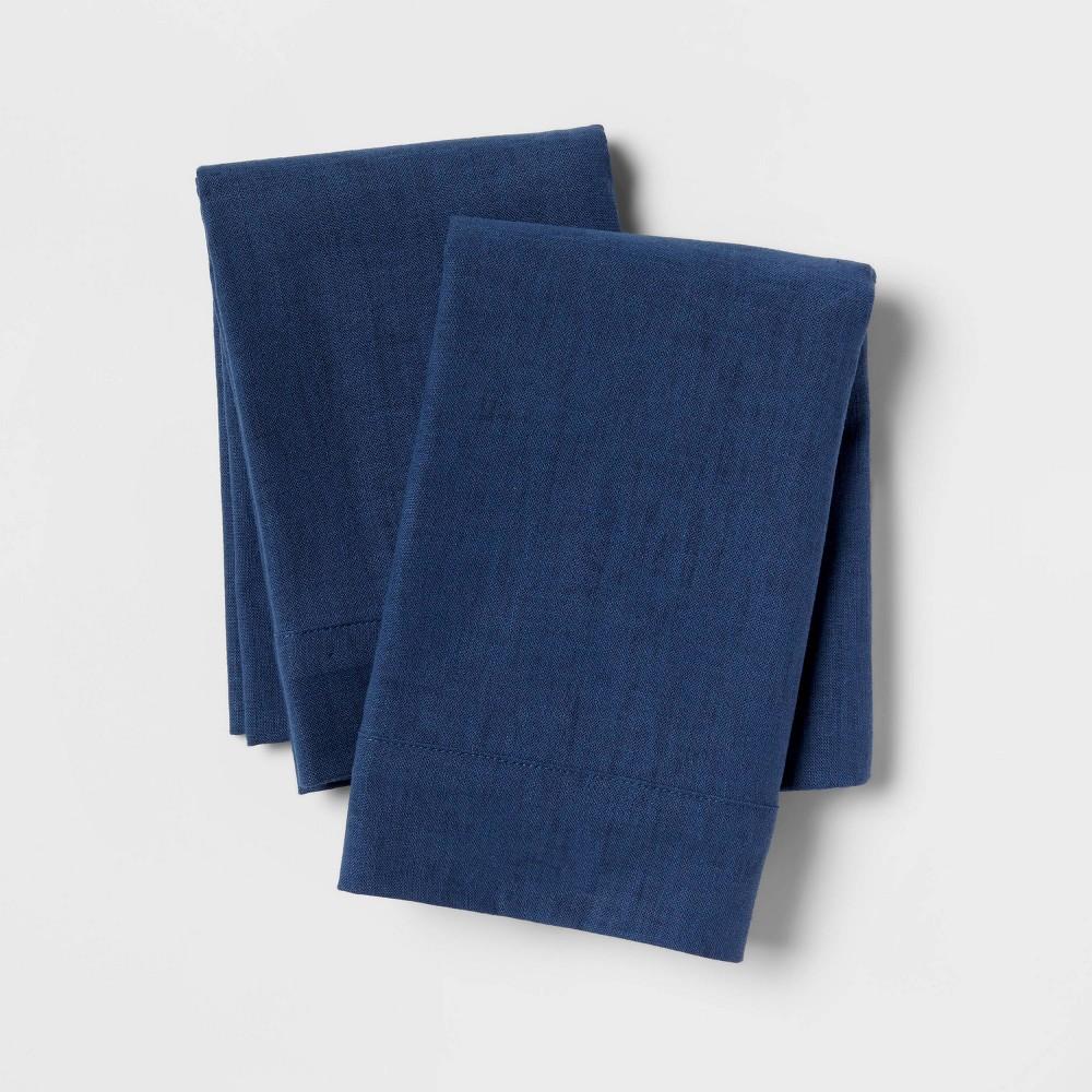 Linen Blend Pillowcase Set Standard Metallic Blue Threshold 8482