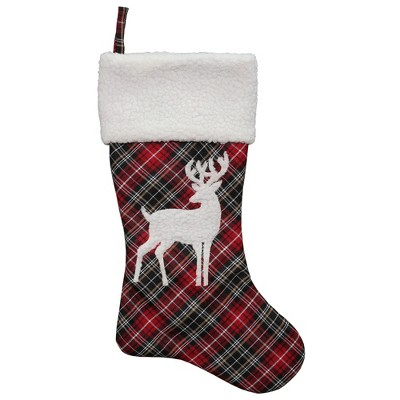 """Northlight 20"""" Black and Red Tartan Reindeer Christmas Stocking with Cuff"""
