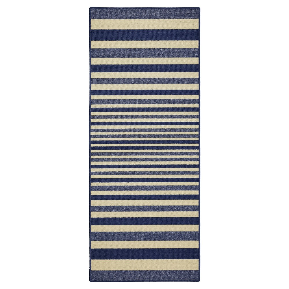 Image of Blue Stripes Washable Doormat - (2'X5') - Maples