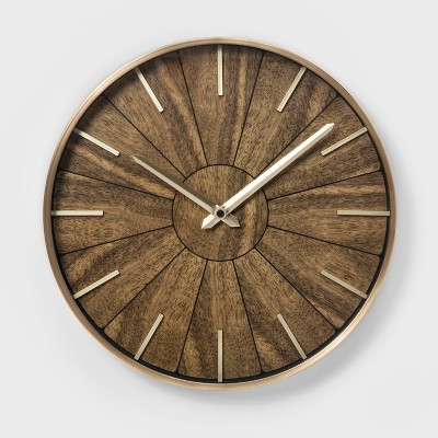 "16"" Segmented Walnut Finish Brass Wall Clock Brown - Project 62™"
