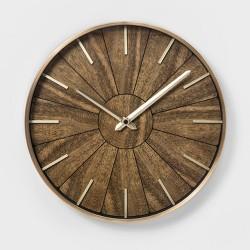 """16"""" Segmented Walnut Brass Wall Clock Brown - Project 62™"""