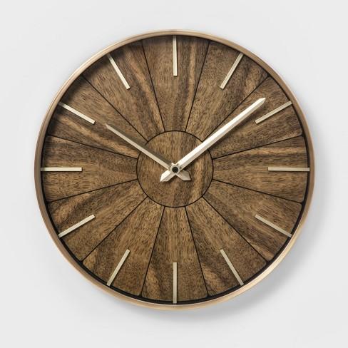 16 Segmented Walnut Brass Wall Clock Brown Project 62
