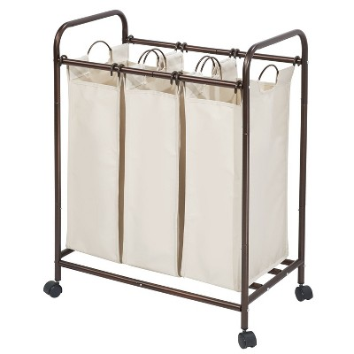 InterDesign Laundry Sorter 3 Bag Bronze/Cream