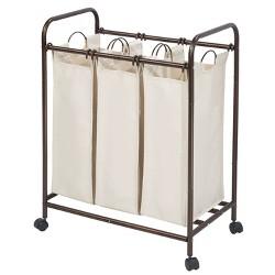 InterDesign Laundry Sorter 3 Bag Bronze/Cream