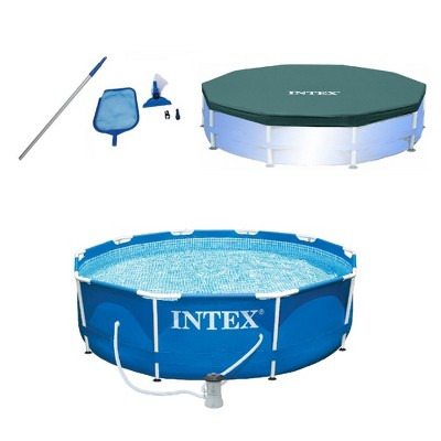 Intex Pool Kit w/ Intex 10 x 2.5-Ft Pool Set w/ Filter Pump w/  10-Ft Pool Cover