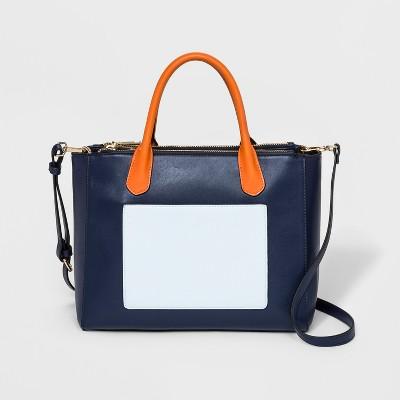 Triple Compartment Satchel Handbag - A New Day™ Navy