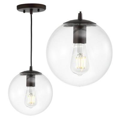"7.75"" Metal/Glass Bleecker Globe Pendant (Includes Energy Efficient Light Bulb) - JONATHAN Y"
