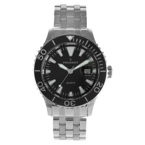 Men's Peugeot® Ratchet Sport Bezel Black Dial Watch - Silver - image 1 of 4