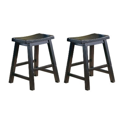 Homelegance 5302BK-18 18 Inch Dining Height Wooden Bar Stool Kitchen Barstool Chair with Solid Wood Legs and Contoured Seat, Black