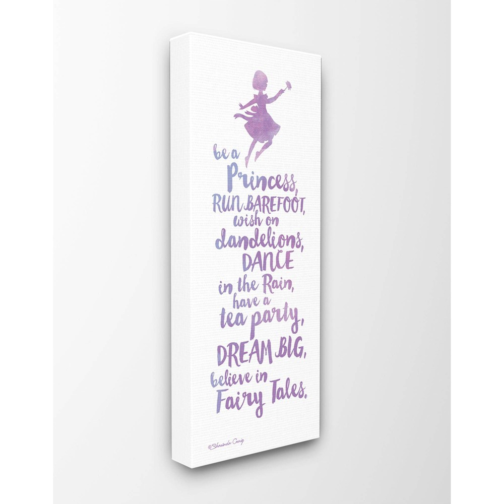 "Image of ""10""""x1.5""""x24"""" Believe In Fairy Tales Purple Watercolor Typography Stretched Canvas Wall Art - Stupell Industries"""