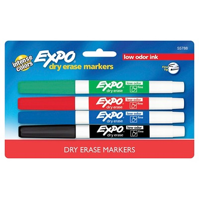EXPO® Dry Erase Markers, Fine Tip, 4ct - Multicolor Ink