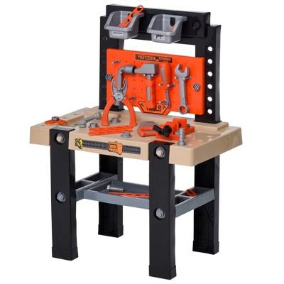 Qaba 64-Piece Kids Play Workbench and Construction Tool Set with Shelf Storage Box