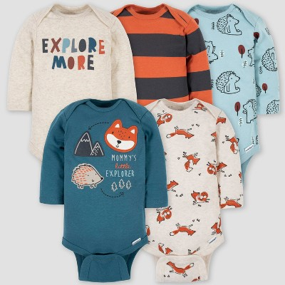 Gerber Baby Boys' 5pk Fox Long Sleeve Onesies - Blue Newborn