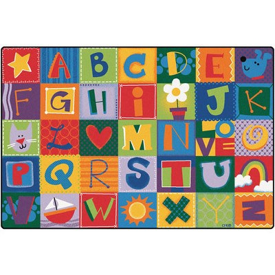 4'x6' Rectangle Woven letters Area Rug Red - Carpets For Kids