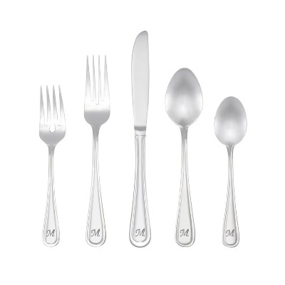 RiverRidge 46pc Personalized Silverware Set Marina Pattern - M