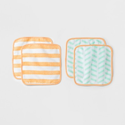 Baby Plush 4pk Washcloth Set - Cloud Island™ Mint/Orange