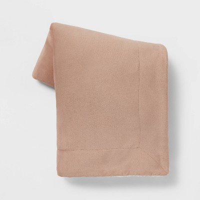 Solid Plush Throw Blanket with Sherpa Reverse Neutral - Threshold™