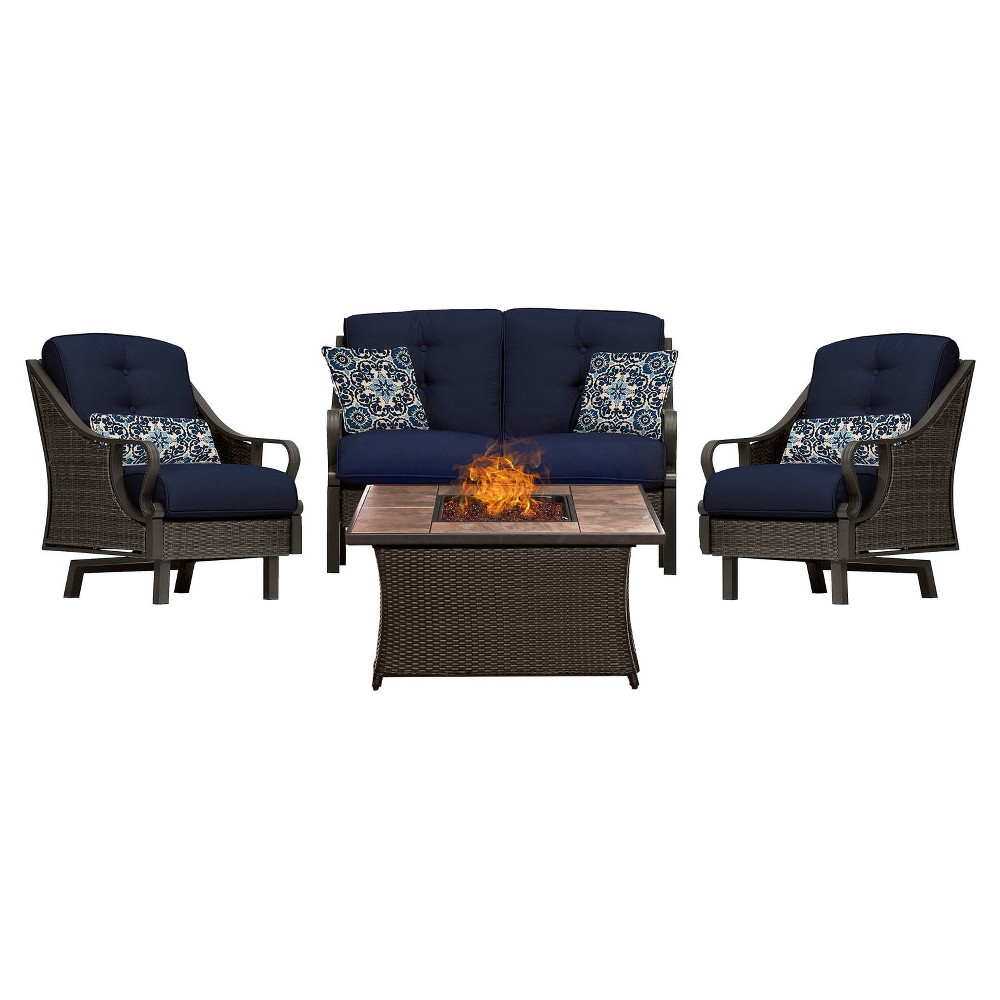 Venture 4pc All-Weather Wicker Patio Chat Set w/Fire Pit - Navy Blue - Hanover