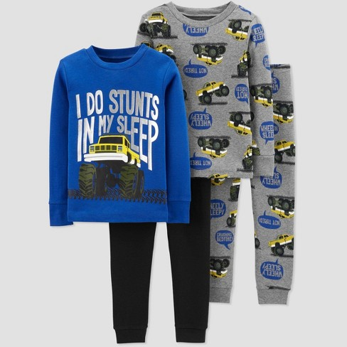 Baby Boys' 4pc Monster Trucks Pajama Set - Just One You® made by carter's Gray 9M - image 1 of 1