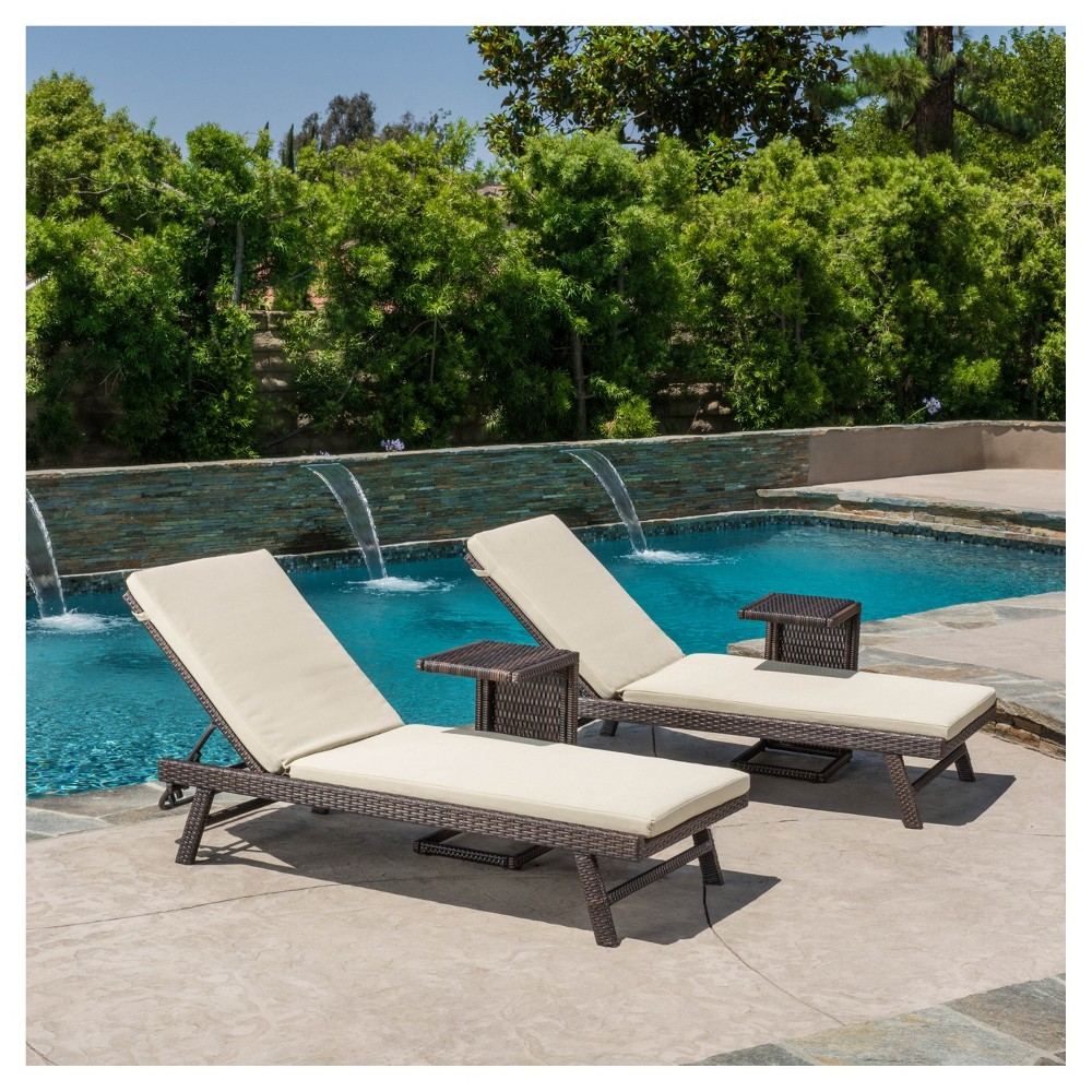 Waveland 4pc All-Weather Wicker Patio Lounge w/ C-Shaped Table - Brown - Christopher Knight Home