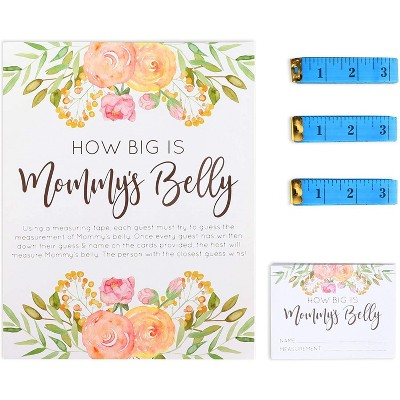 Sparkle and Bash 28 Pcs Set Baby Shower Party Games, How Big is Mommy's Belly with Measuring Tape and Guessing Cards