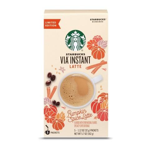 Starbucks VIA Pumpkin Spice Latte Medium Roast Instant Coffee Packets  - 5.7oz/5ct - image 1 of 4