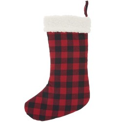 """Mina Victory Home For The Holiday Red Checkered Plaid Stocking 17"""" x 10"""""""