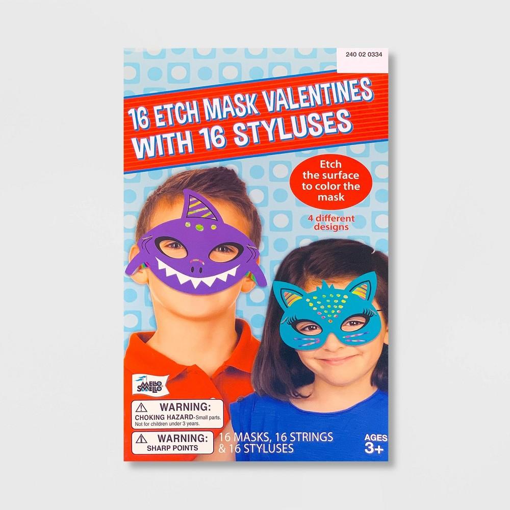 Image of 16ct Valentines Etch Animal Masks Kit