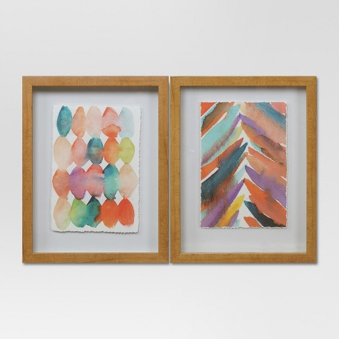 Framed Abstract Watercolor Wall Print Brown White 11 X14 2pk