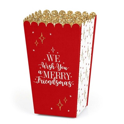 Big Dot of Happiness Red and Gold Friendsmas - Friends Christmas Party Favor Popcorn Treat Boxes - Set of 12