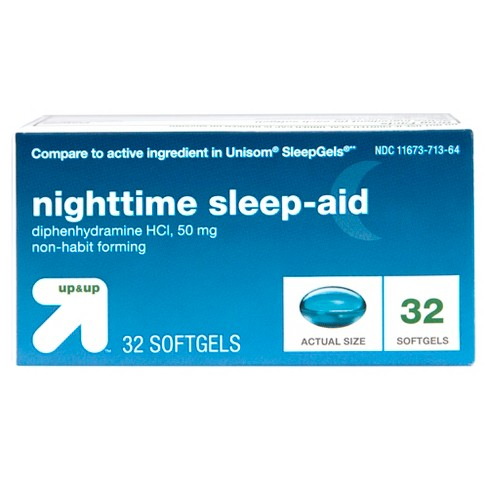 Diphenhydramine HCl Maximum Strength Nighttime Sleep Aid Softgels - 32ct - Up&Up™ (Compare to active ingredient in Unisom SleepGels) - image 1 of 5