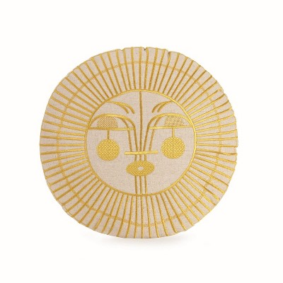 Round Ayo Sun Decorative Throw Pillow Gold Metallic - Justina Blakeney