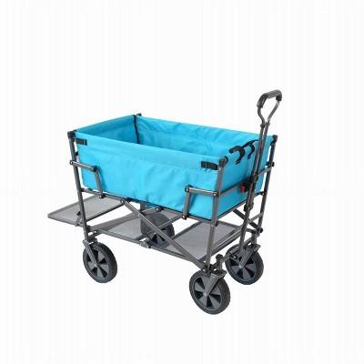 Mac Sports Heavy Duty Double Decker Collapsible Yard Cart Wagon, Light Blue