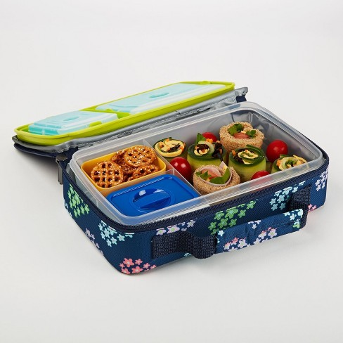 Fit & Fresh Bento Lunch Box Set with Insulated Carry Bag - Heart Flowers - image 1 of 3