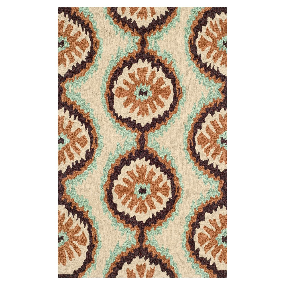 Beige/Green Abstract Hooked Accent Rug - (2'6X4') - Safavieh