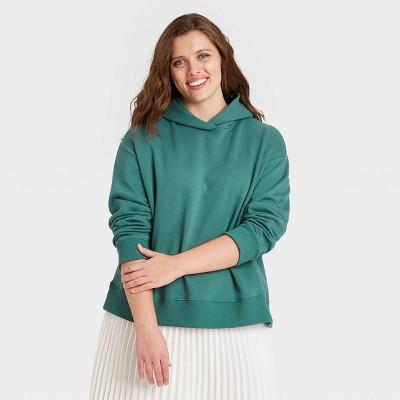 Women's Plus Size Hooded Sweatshirt - A New Day™ Green 1X