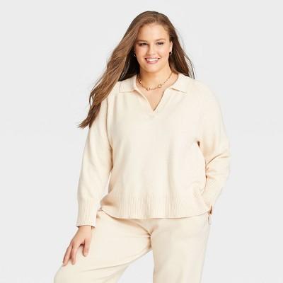 Women's Plus Size Split Neck Pullover Sweater - Ava & Viv™