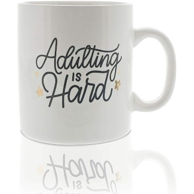 Okuna Outpost White Large Ceramic Coffee Mug Tea Cup, Almost Adulting (16 oz, 3.7 x 4.1 in)