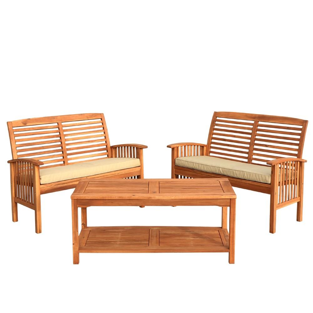 3pc Acacia Wood Patio Conversation Set - Brown - Saracina Home