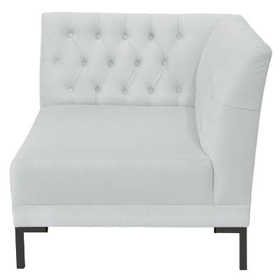 Audrey Diamond Tufted Corner Chair White Velvet And Black Metal Y Legs    Cloth U0026 Co. : Target