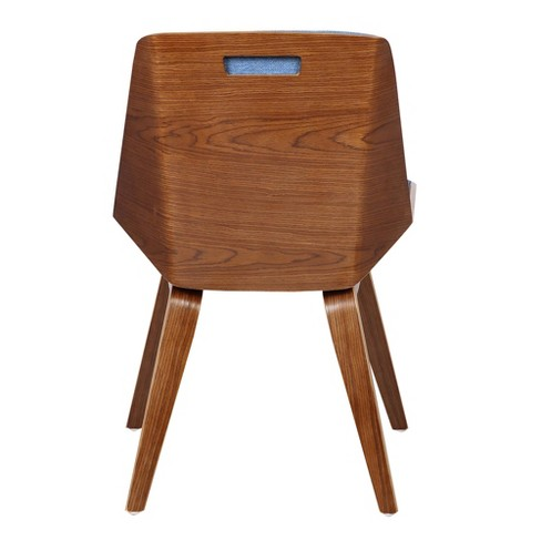 10b3974419b63 Agi Mid-Century Side Chair in Blue Fabric with Walnut Wood Finish - Armen  Living