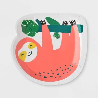 10ct Sloth Jungle Print Snack Paper Plates - Spritz™