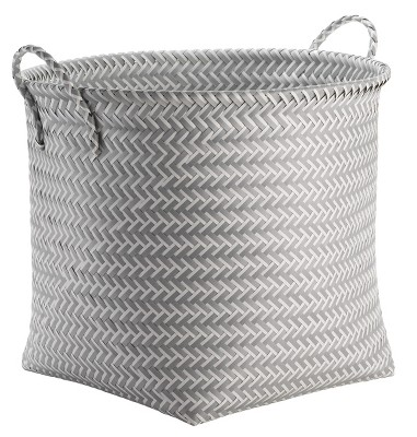 Large Round Woven Plastic Storage Basket White and Gray - Room Essentials™