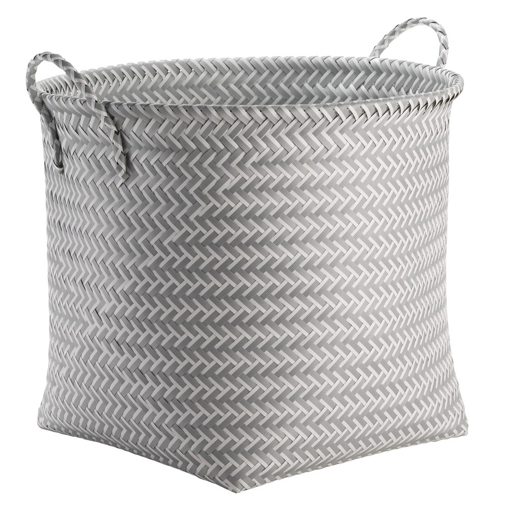 Image of Large Round Woven Plastic Storage Basket White and Gray - Room Essentials