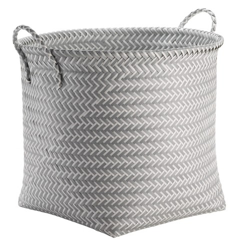 Large Round Woven Plastic Storage Basket White and Gray - Room Essentials™ - image 1 of 2