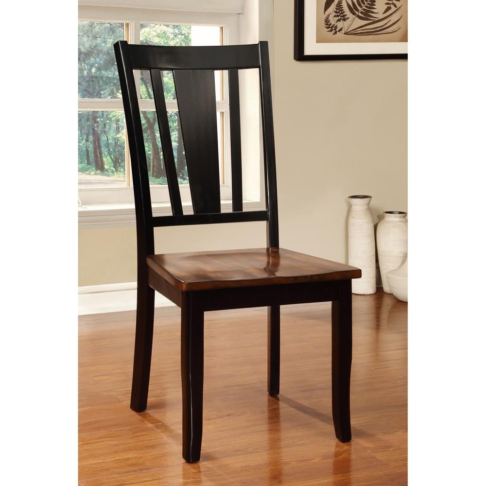 Sun & Pine Striped Cutout Back Side Chair Wood/Cherry/Black (Set of 2)