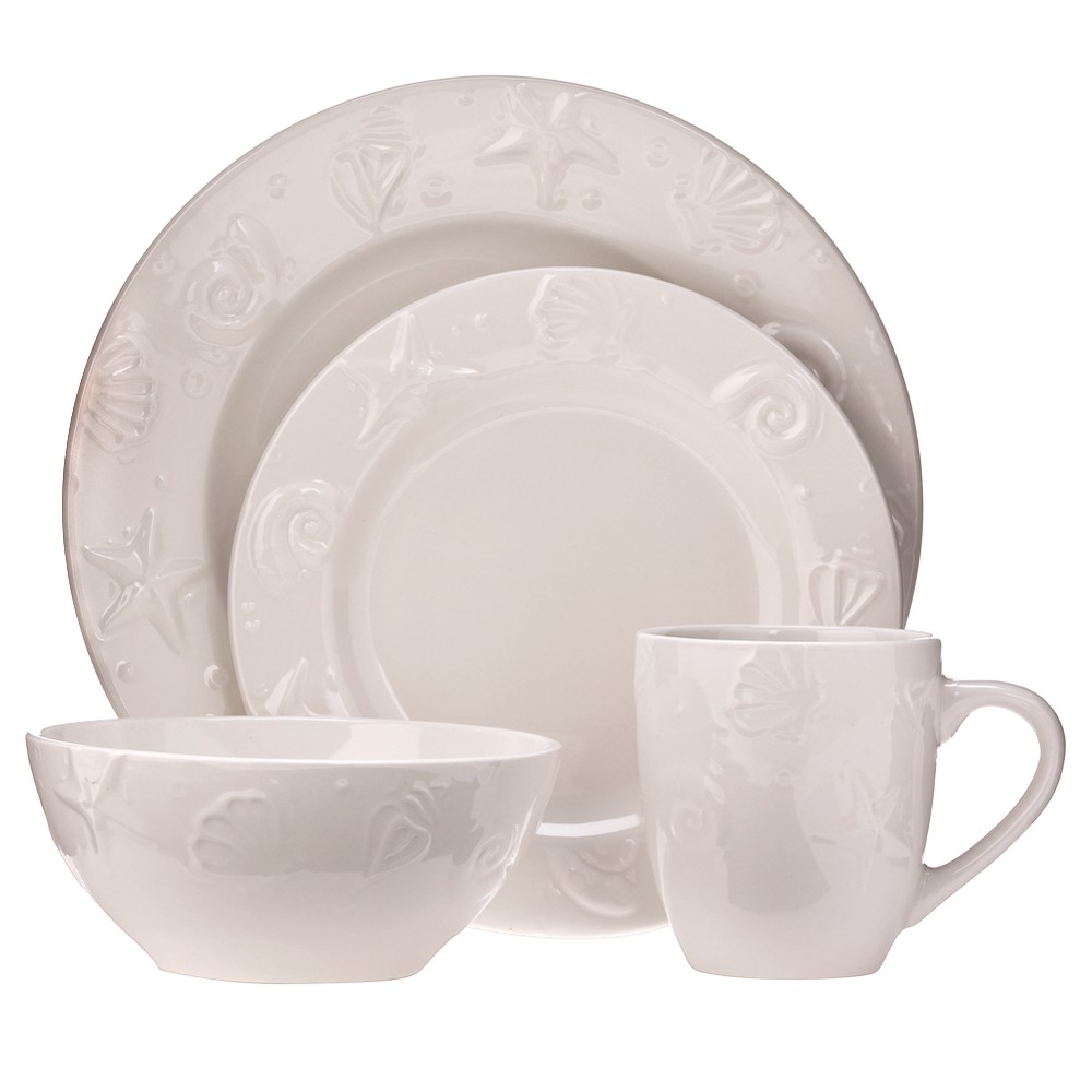 Image of C.C.A. International Seashells 16pc Dinnerware Set, White